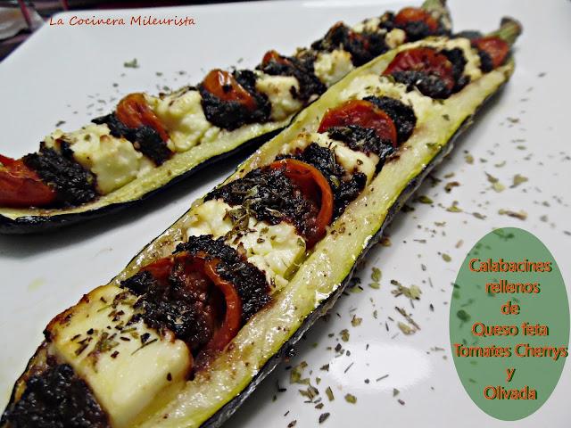 Calabacines Rellenos De Queso Feta Tomates Cherrys Y Olivada