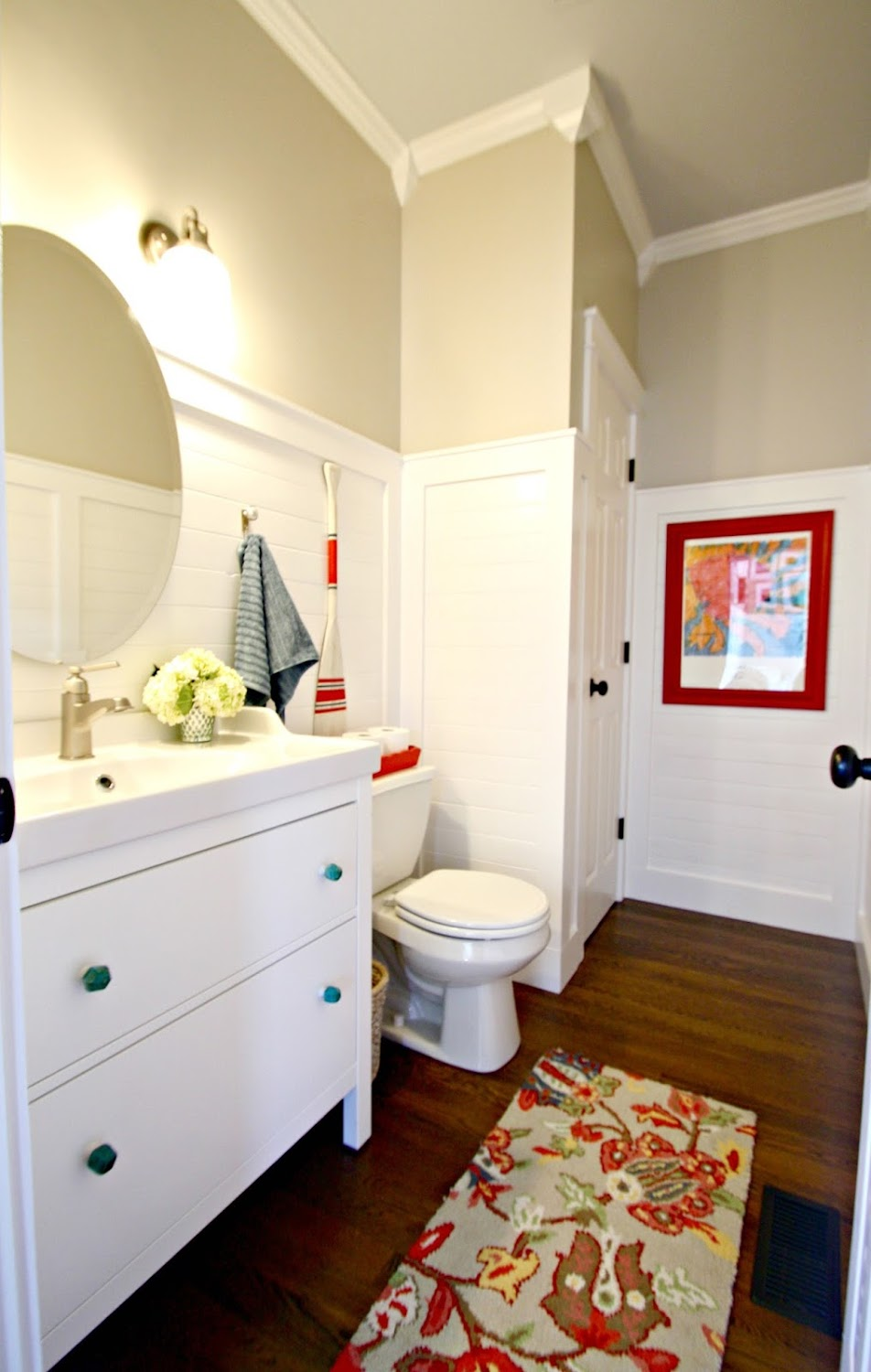 planked walls in bathroom