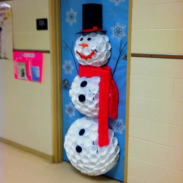 Preschool Classroom door snowman from Styrofoam cups