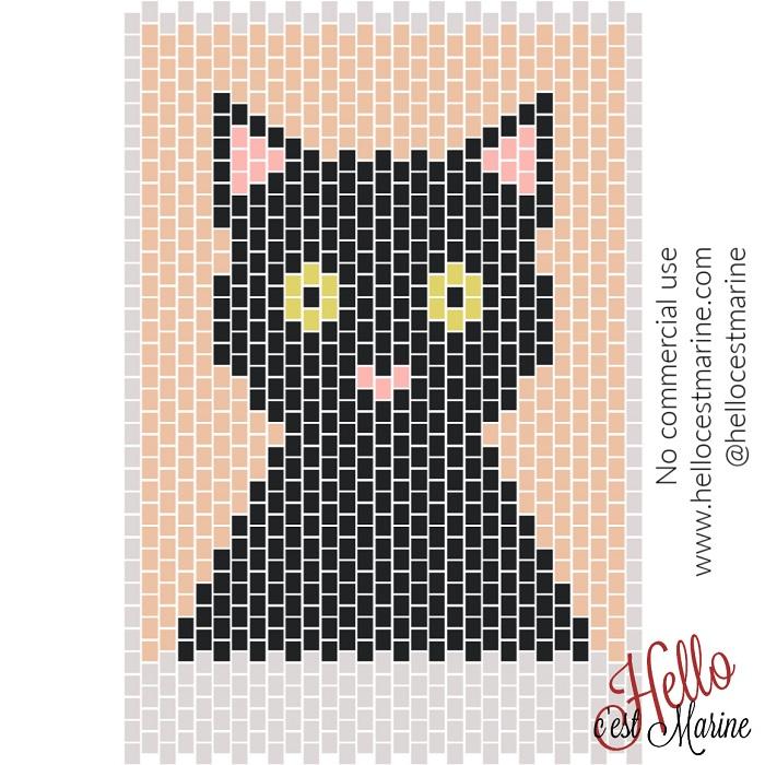 Un chat grand et costaud à tisser en perles Miyuki Delicas 11/0 par Hello c'est Marine