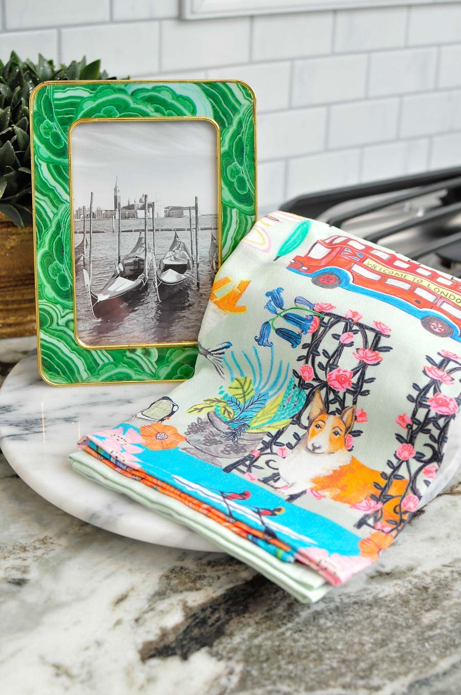 Agate picture frame and London kitchen towel from World Market.