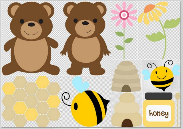 Bears, Honney and Bees Clipart.