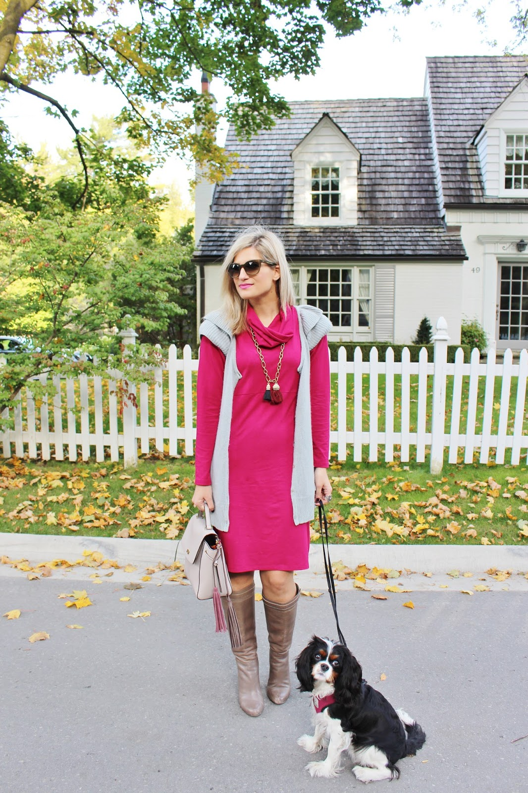 Bijuleni - Miik Cowl Pocket Cranberry Dress with Grey Sweater Vest, Ann Taylor Ankle Boots, Kate Spade handbag and Cavalier puppy