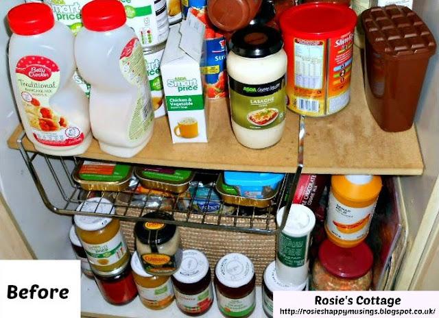Organized pantry bottom shelves before