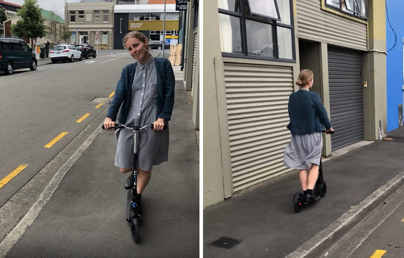Hazel riding her Downtown Micro Scooter in Wellington
