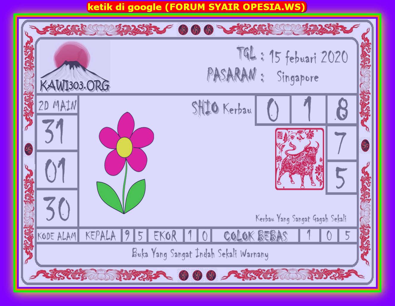 Kode syair Singapore Sabtu 15 Februari 2020 69