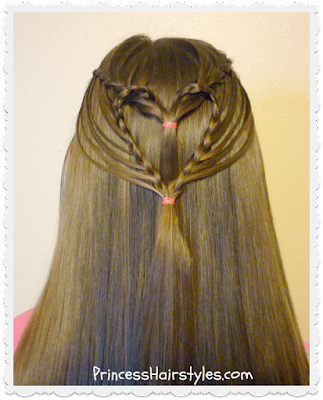 Braided heart hairstyle tutorial. Streaming heart hairdo for Valentines.