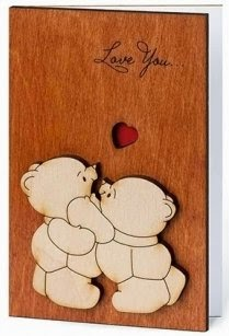 Handmade Sustainable Real WOOD Card! CUTE Teddy Bears FUNNY Love Card UNIQUE Valentine's Day Cards ORIGINAL Anniversary Gift