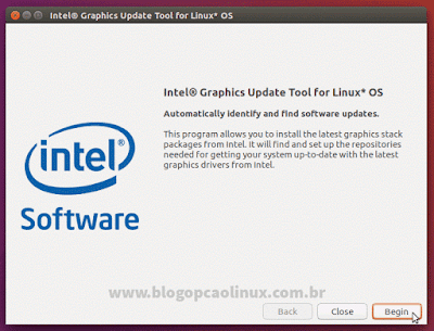 Tela inicial do Intel Graphics Update Tool