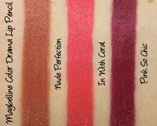 Maybelline Color Drama Lip Pencil - Nude Perfection, In With Coral and Pink So Chic Swatches & Review