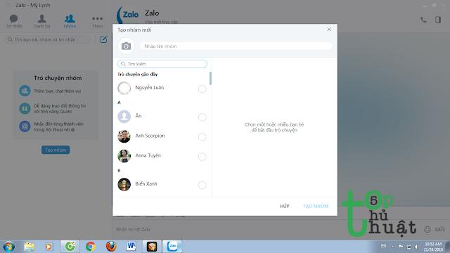 Tạo nhóm chat trên Zalo PC