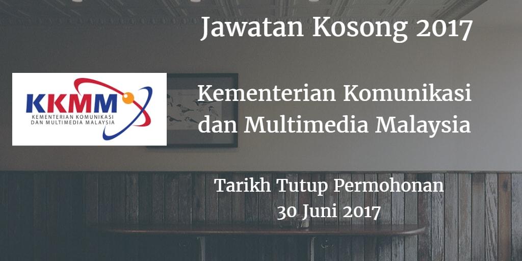 Jawatan Kosong Kementerian Komunikasi dan Multimedia Malaysia 30 Juni 2017