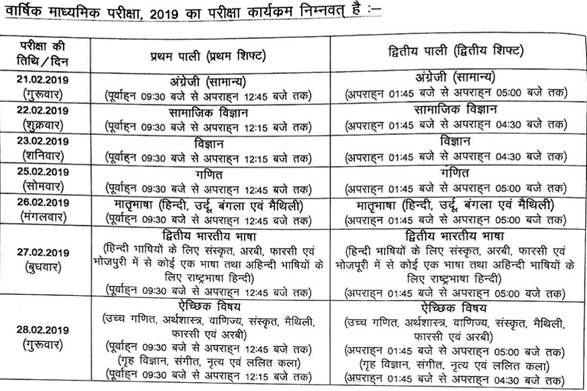 Bihar Board 10th Time Table 2019 BSEB Matric Date Sheet Download Schedule