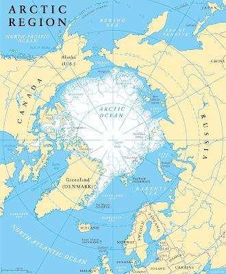 Mapa donde se aprecia lo cercana que está Islandia de Groenlandia