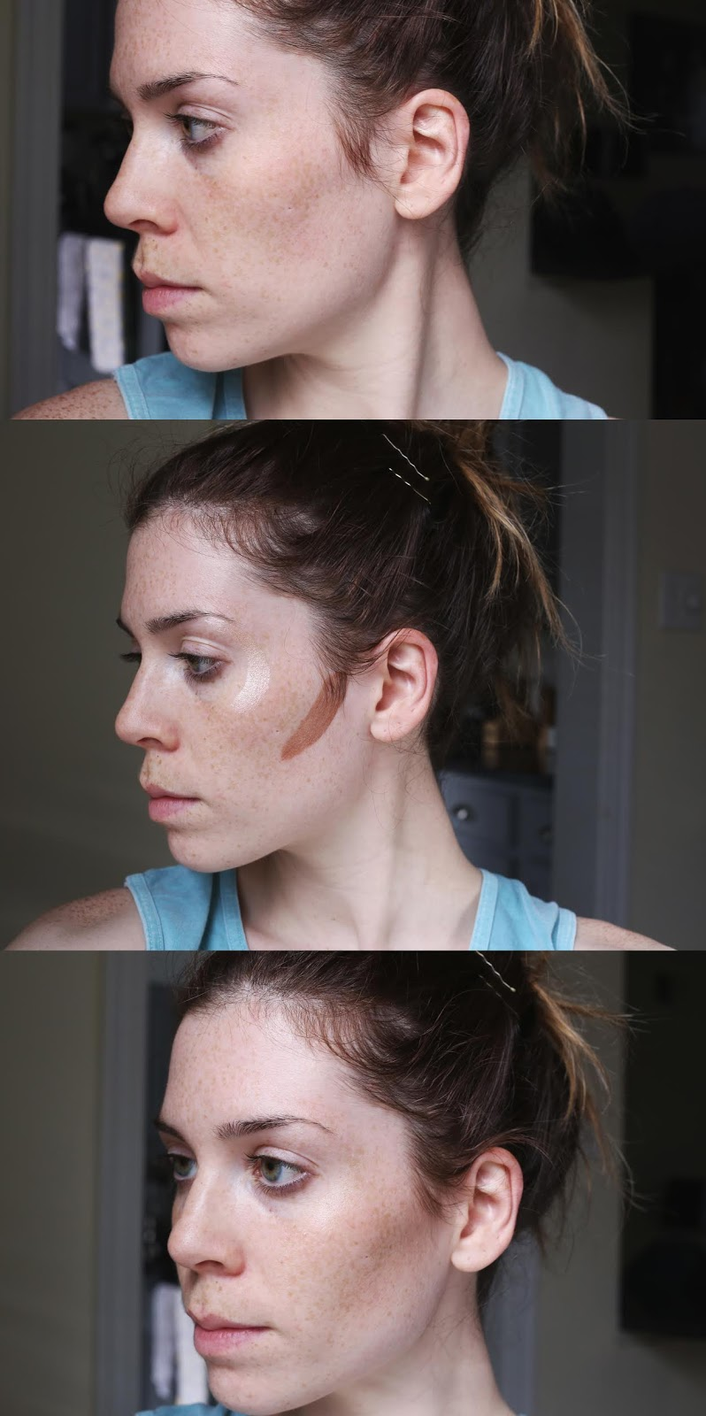 before/after face swatch charlotte tilbury hollywood highlight wand contour wand