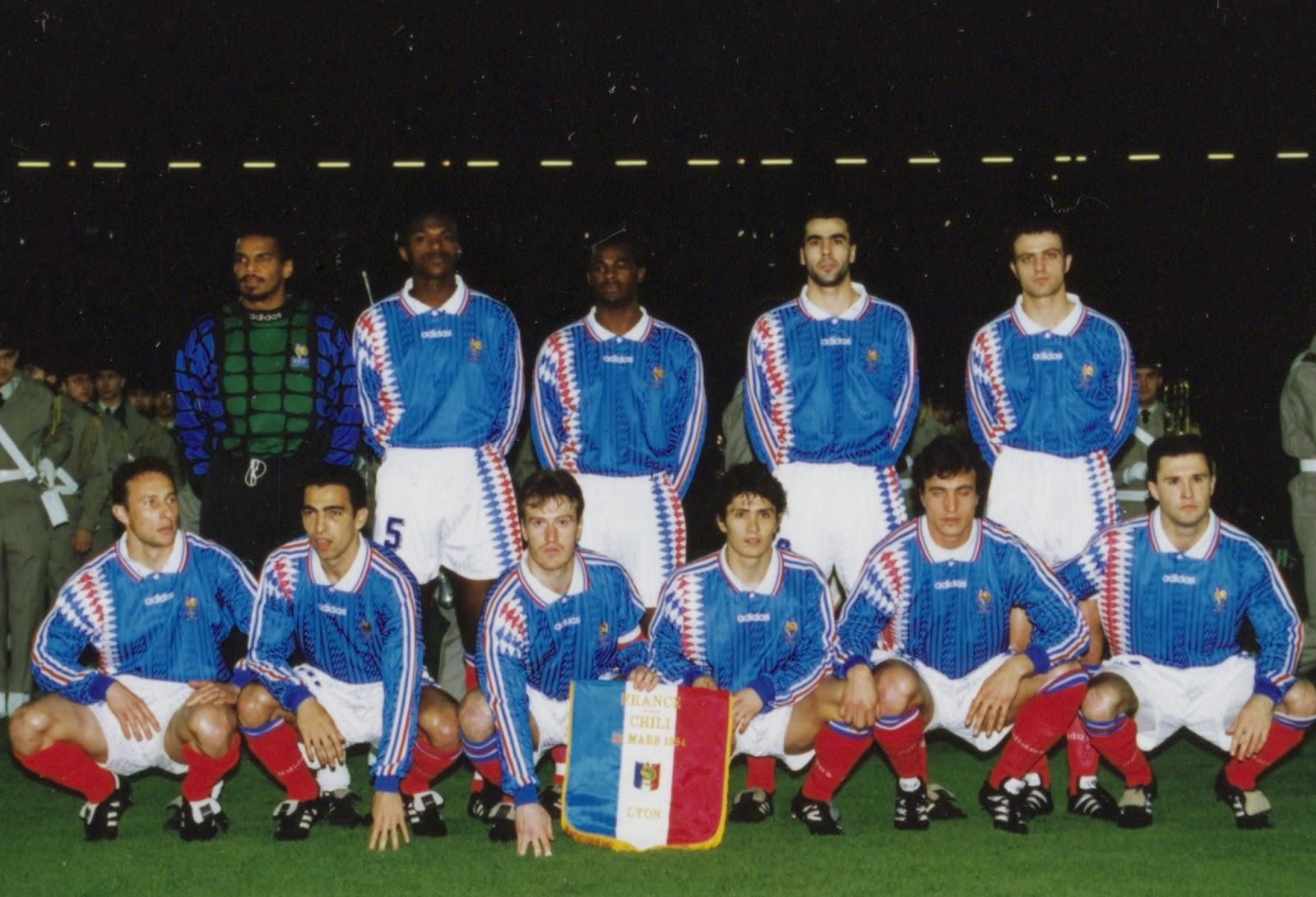 Formación de Francia ante Chile, amistoso disputado el 22 de marzo de 1994