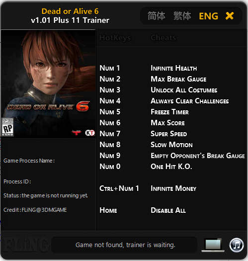 Trainer Cheat Game PC Dead or Alive 6