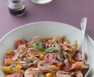Pasta salad, raw ham, mimolette