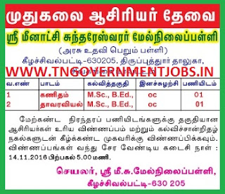 Applications are invited for PG Teacher Mathematics and Botany Subjects in Sri Meenakshi Sundareswarar Higher Secondary School Keelasevalpatty Sivagangai (Govt Aided School)