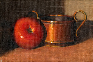 Oil painting of a small copper pot beside a red tomato.