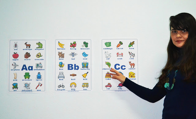 Printable English alphabet posters for classroom wall decoration