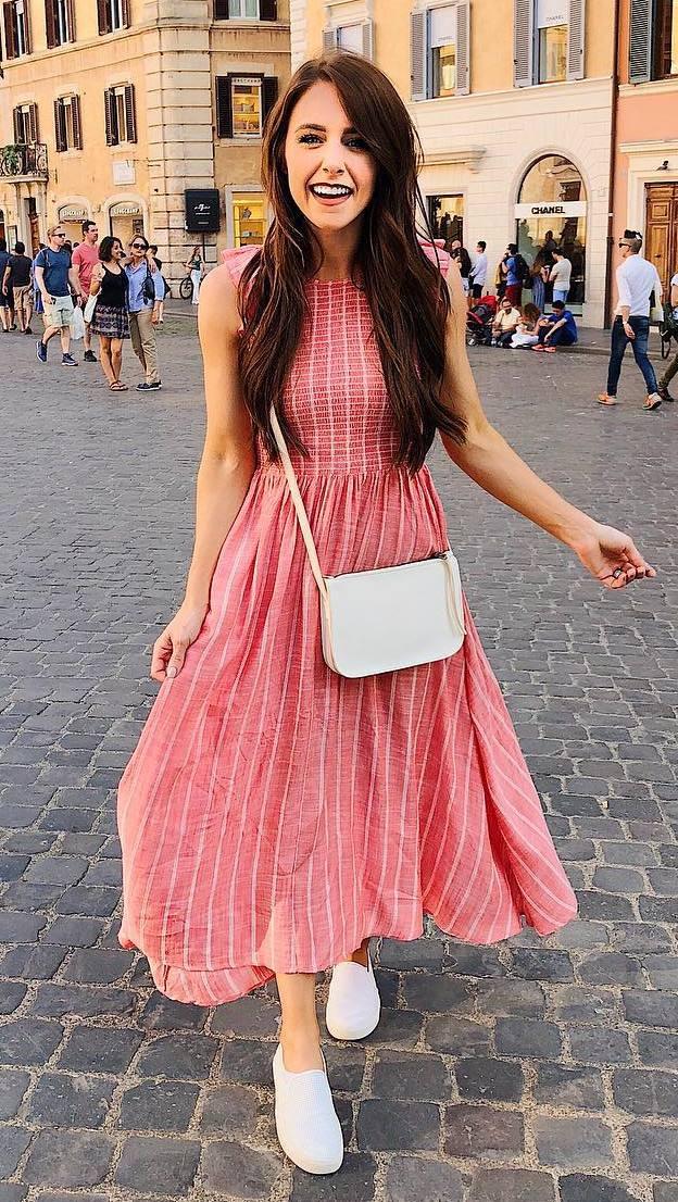 romantic outfit idea / red midi dress + bag + slip-on