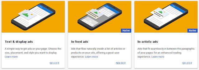 Memilih jenis iklan adsense