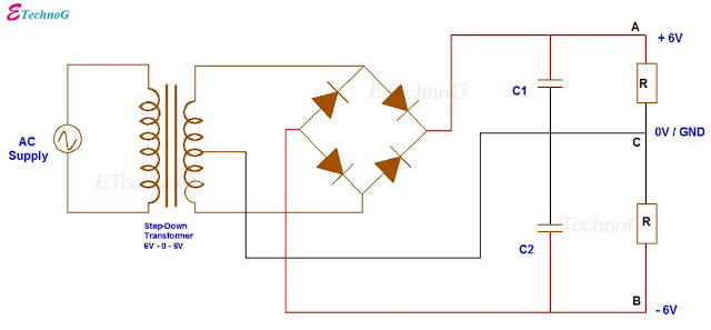 Full Wave Bridge Rectifier Circuit  with Center Tapped Transformer. Full Wave Rectifier.full wave rectifier circuit. full wave rectifier project.full wave rectifier capacitor filter.