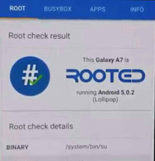 Hasil Rooting Samsung Galaxy A7 Sukses