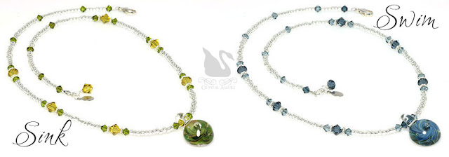 Ocean Inspired Green or Blue Artisan Lampwork Crystal Necklaces (N124)
