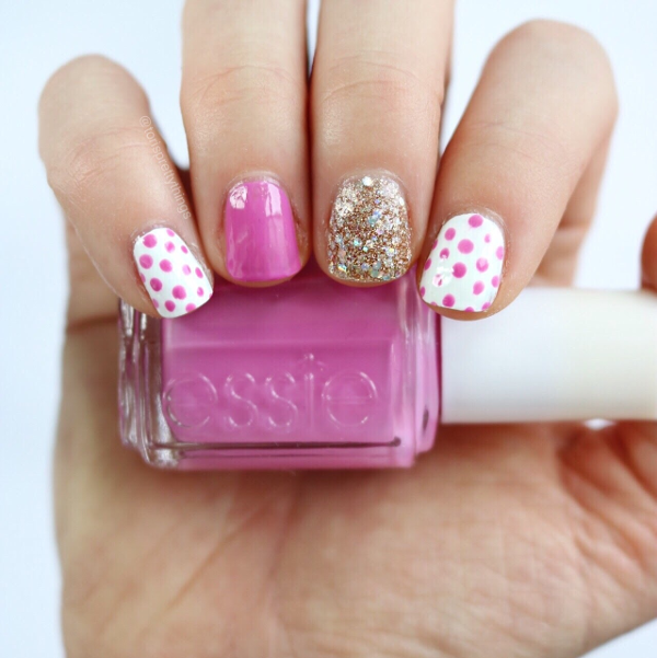 Essie Splash of Grenadine - Pink Polka Dot Dotticure Nail Art - Tori's Pretty Things Blog