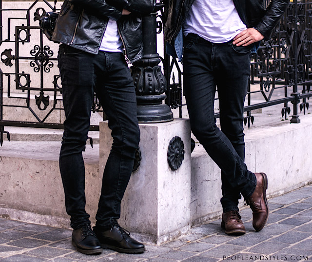 John Pavlish, Marko Costantini, mens fashion, biker jacket, skinny black jeans and white tee, street fashion men winter street