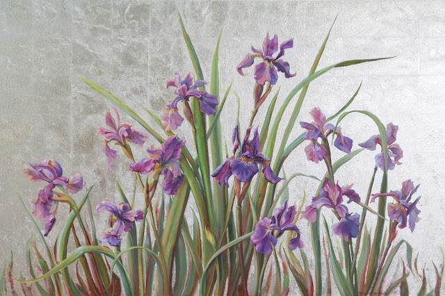 """Iris Symphony"" oil and silver leaf"