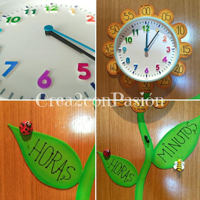 Presentación-diy-reloj-primaveral-para-aprender-las-horas-Crea2conPasión-collage-de-imágenes-en-goma-eva-y-pasta-modelar