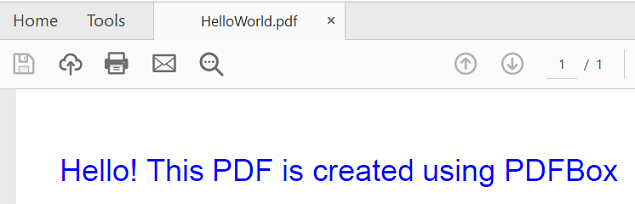 HelloWorld PDF using PDFBox