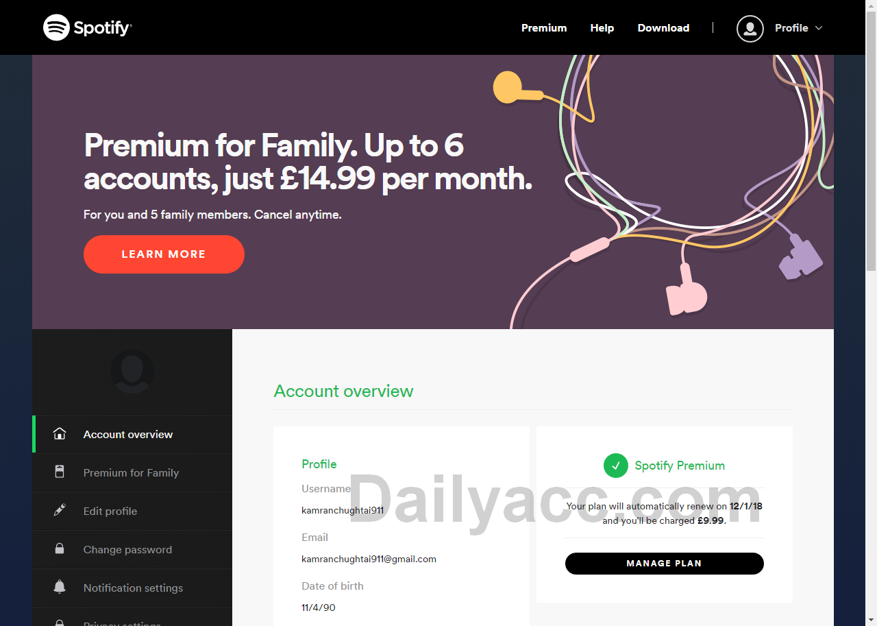 Free x1500 Spotify.com Premium Accounts November 30, 2018