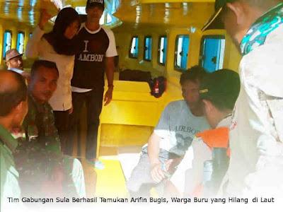 Tim Gabungan Sula Berhasil Temukan Arifin Bugis, Warga Buru yang Hilang 4 Hari di Laut