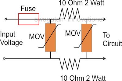 surge suppressor using 2 MOV, resistors, and fuse