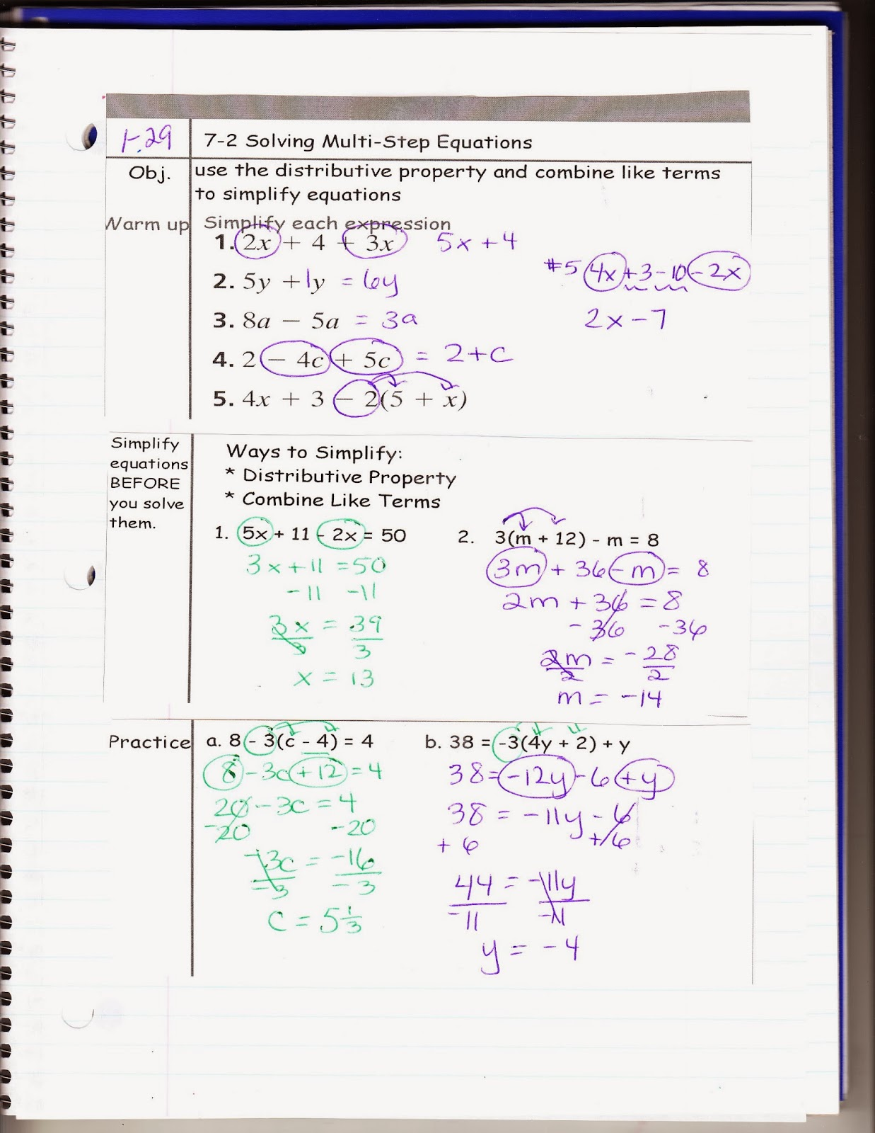 Ms Jean S Classroom Blog 7 2 Solving Multi Step Equations