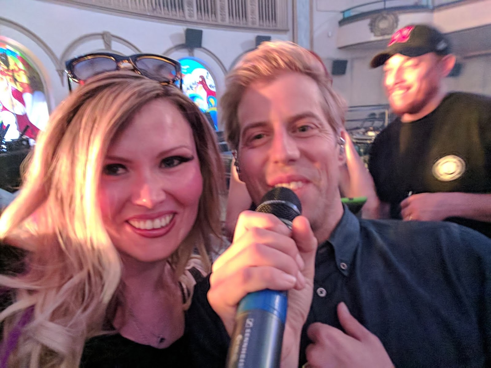 Andrew McMahon taking selfie during soundcheck Seattle zombies in america tour something corporate jack's mannequin groupie
