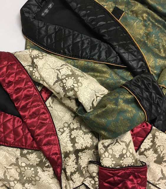 Vintage paisley silk robe and men's dressing gowns with quilted shawl collar in extra long full length