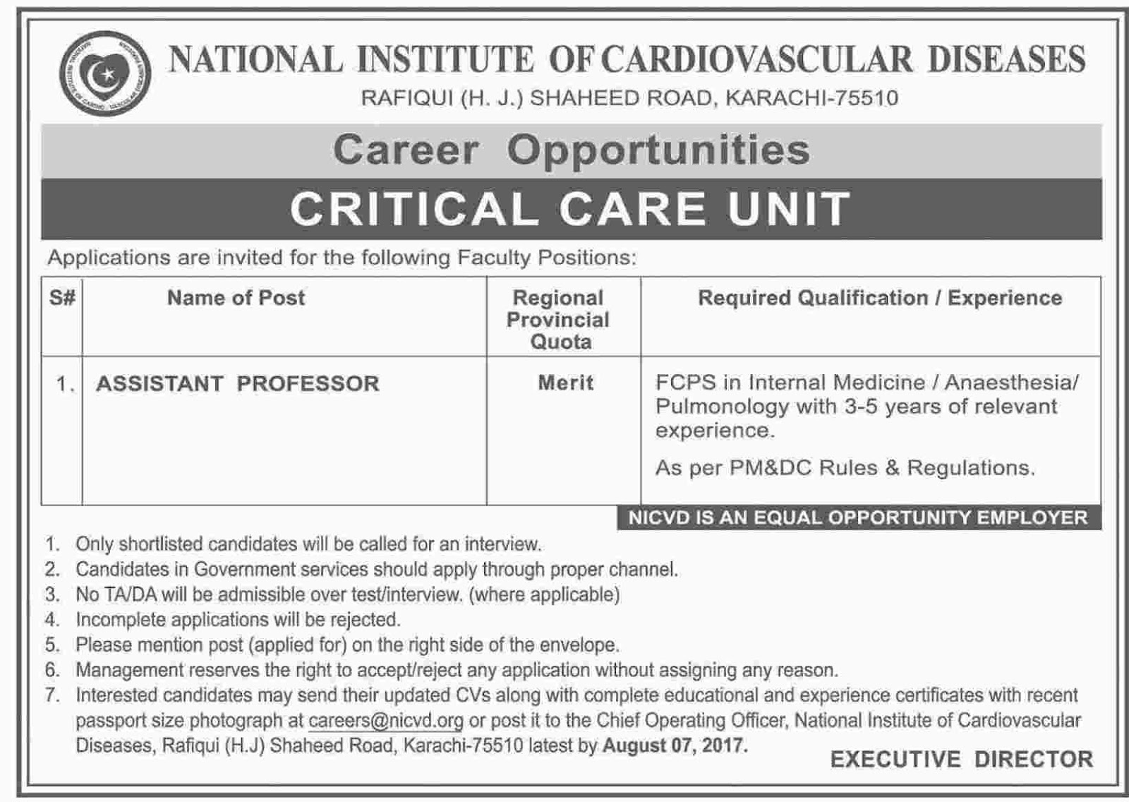Jobs In National Institute Of Cardiovascular Diseases Karachi Jul 2017