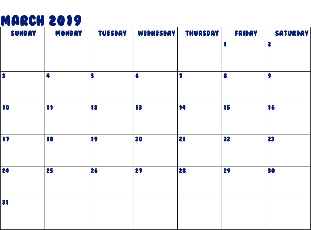 Get Free March 2019 Calendar Template