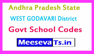 WEST GODAVARI District Govt School Codes in Andhra Pradesh State