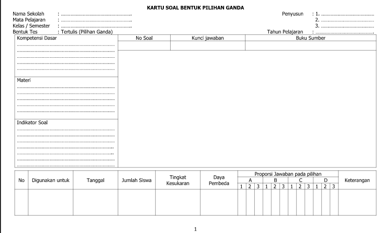 Download Contoh Format Kartu Soal Bentuk Pilihan Ganda - Lembar 2 untukAdministrasi Guru SD/MI-SMP/MTs-SMA/SMK/MA