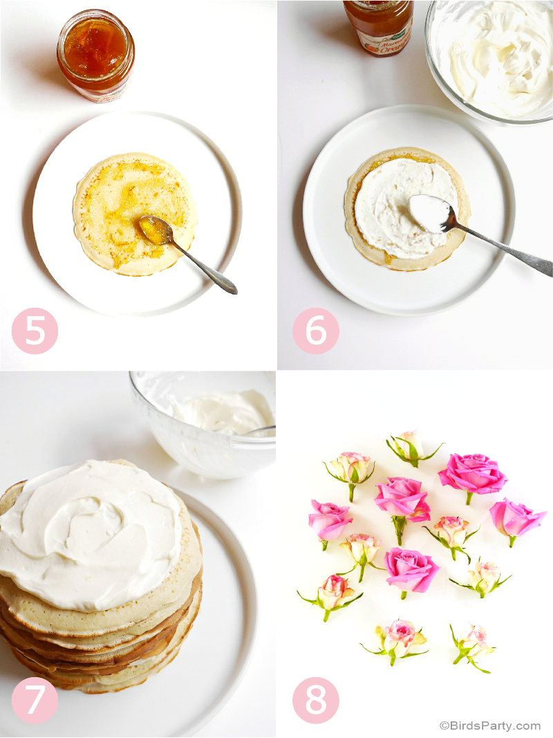 Crepe Cake with Rosewater & Marmelade Mascarpone Cream Recipe - BirdsParty.com