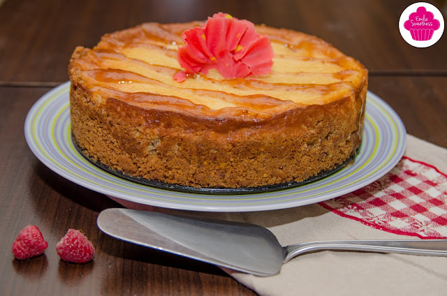 Cheesecake cuit vanille et framboises