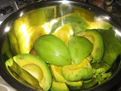 Avocado halves ready to make guacamole