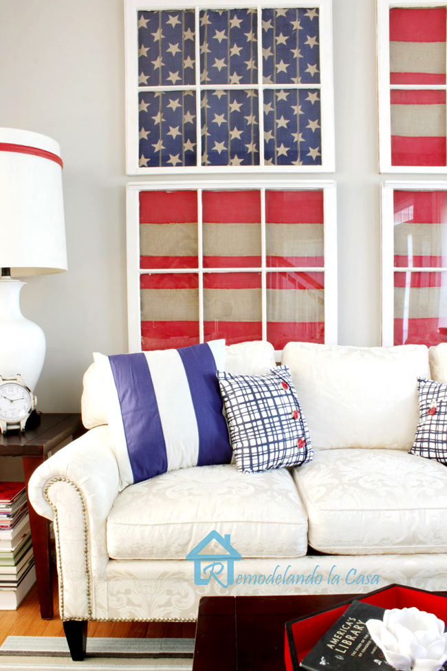 patriotic decor in living room with american flag art on old window wall gallery