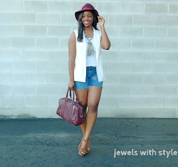 how to dress up shorts, shorts outfit idea,white sleeveless vest, dressy shorts outfit, how to wear shorts, denim cut off shorts, D.I.Y. cut off shorts, D.I.Y. distressed denim, cut off shorts outfit idea, jean cut off shorts, statement necklace, silver statement necklace, jewels with style, columbus personal stylist, columbus ohio stylist, black fashion blogger, black style blogger, how to wear a sleeveless vest